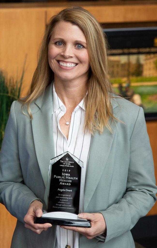 Angela Drent, winner of the 2020 Iowa Public Health Heroes Award