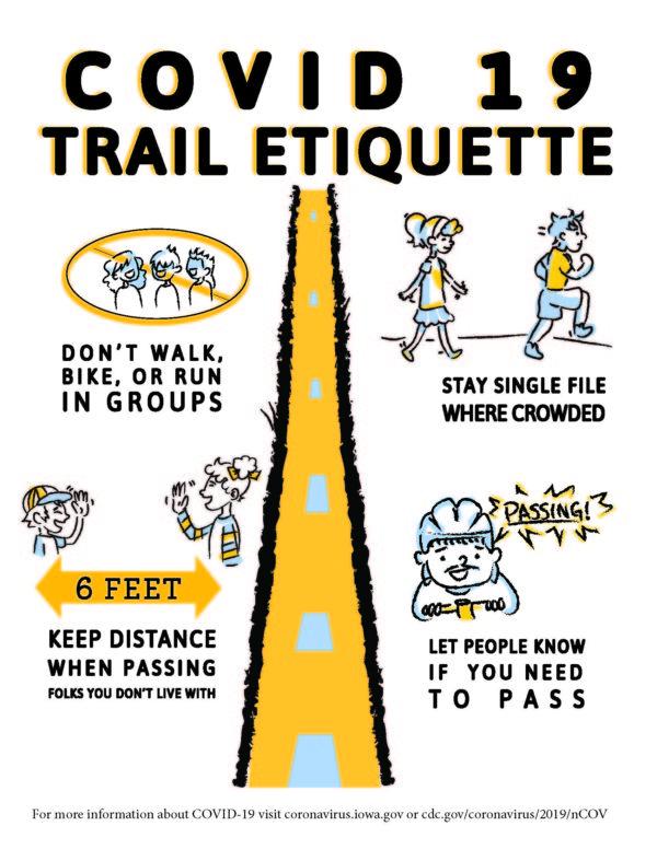 Covid-1 trail etiquette graphic
