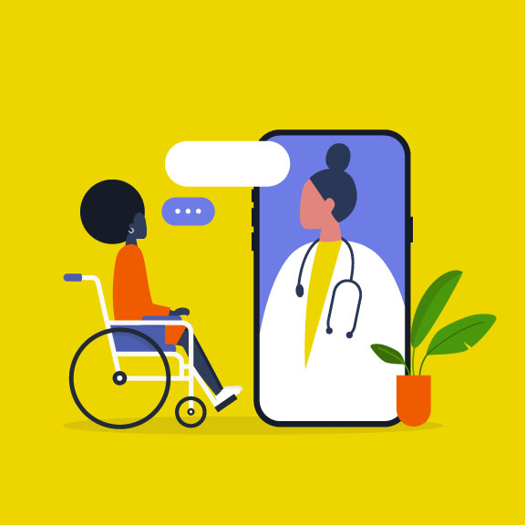 illustration of person in wheelchair talking to doctor by phone
