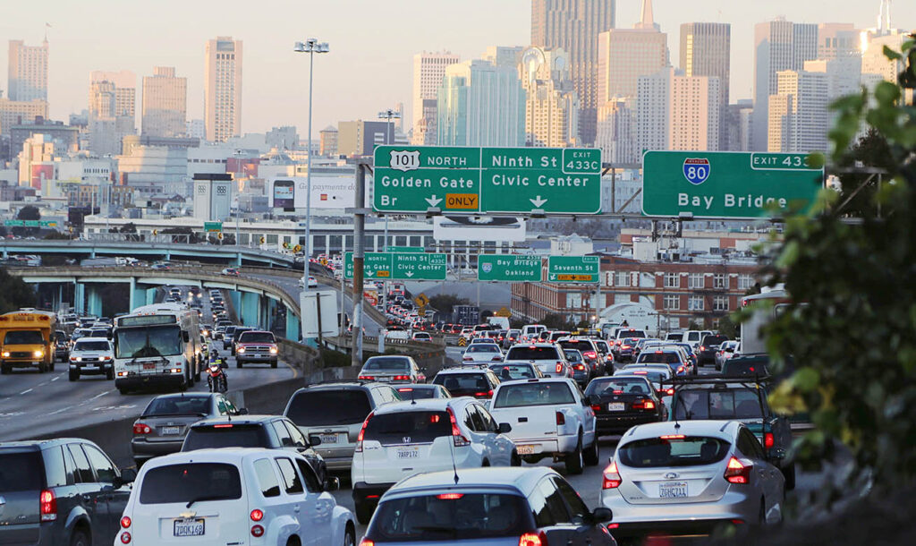 traffic jam in large city