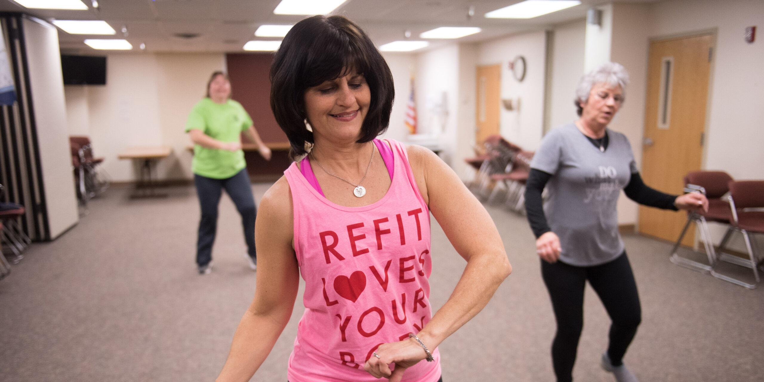 Instructor teaching a fitness class in Ottumwa, Iowa.
