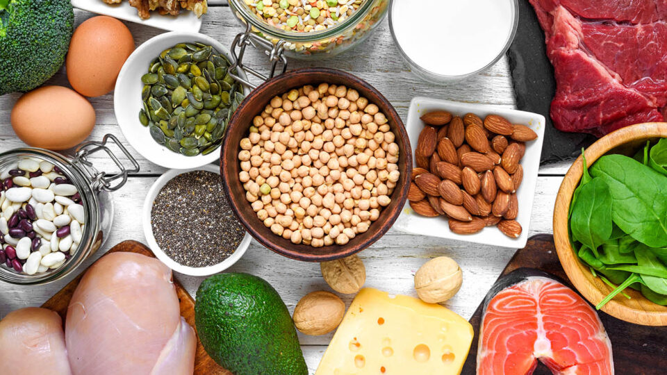 Selection of protein food sources. Meat, fish, vegetables, dairy, beans, nuts and seeds