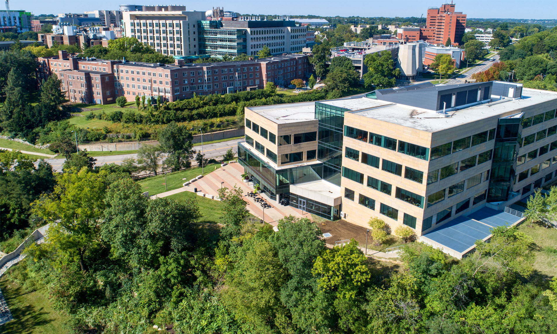 Aerial view of the College of Public Health Building.