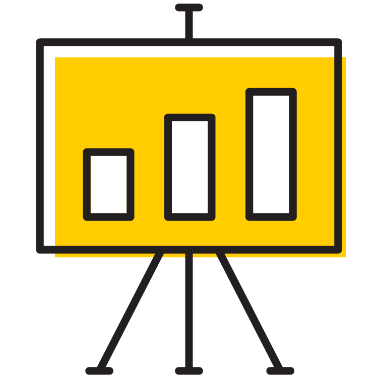 Presentation with chart icon
