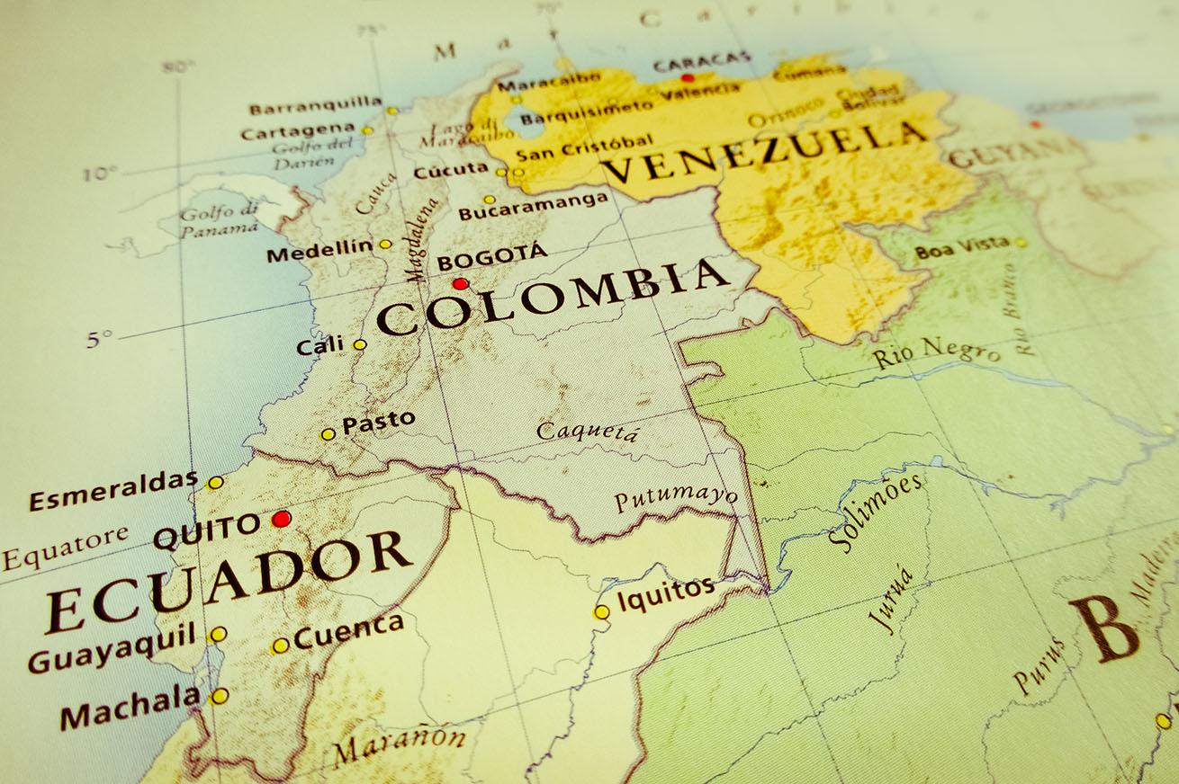 map of Venezuela, Colombia and Ecuador