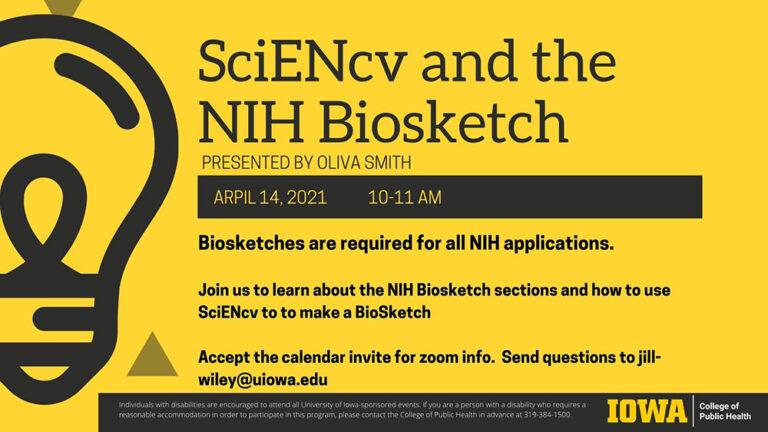 SciENcv and the NIH Biosketch workshop flyer